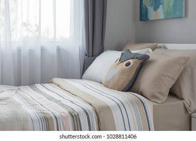 modern bedroom style with single bed, interior design concept