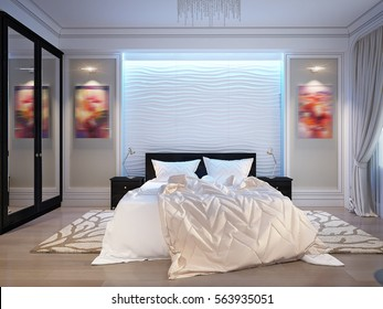 Modern bedroom with white gypsum 3D panels on the wall, LED Backlight, fireplace and molding on the walls. 3d render.
