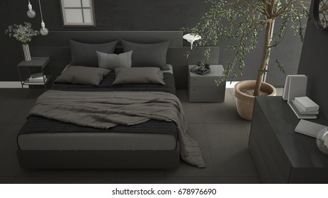Modern bedroom with window, chest of drawer and big olive tree, concrete wall, minimalist interior design, 3d illustration