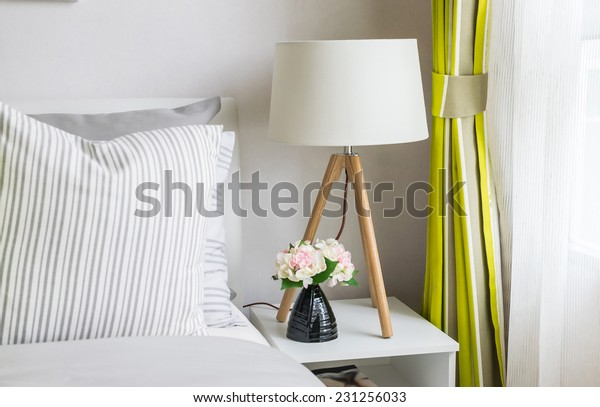 modern bedroom with wood lamp at home