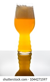 Modern Beer Glass Filled with Blonde NEIPA Yellow Beer in Studio Isolated on White Background