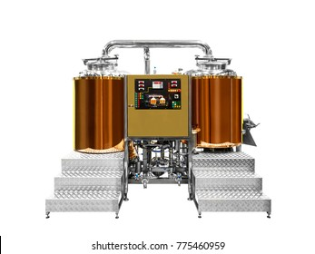 Modern beer plant brewery, with brewing kettles, vessels, tubs and pipes made of stainless steel and cuprum copper isolated on white background