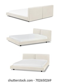 Modern beige Bed furniture in different angles