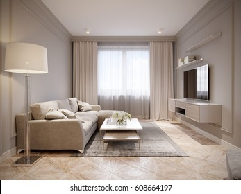 Modern Beige Gray Living Room Interior Design with Large Light Beige Sofa and Beige White Curtains. 3d rendering