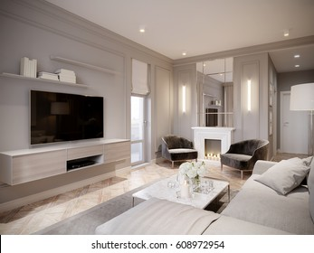 Modern Beige Gray Living Room Interior Design with Large Light Beige Sofa, White Fireplace with Mirror and Big TV. 3d rendering