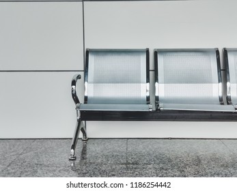 Modern bench interior.Empty bench in airport and exhibition hall.Interior objects.