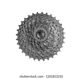 Modern bicycle cogset on white background, top view