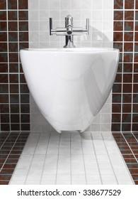 Modern bidet in white and red bathroom