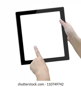Modern big screen tablet computer in lady hand on white background.