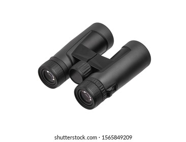 Modern binoculars isolated on white background. Optical device for long-range vision.