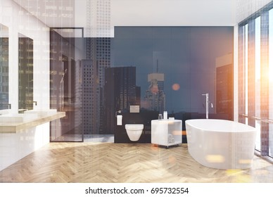 Modern black bathroom interior with a loft window, a lavatory, white tub, two sinks and a shower. 3d rendering mock up toned iamge double exposure