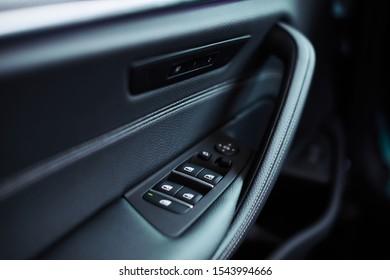 Modern black car interior close up