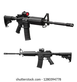Modern black carbine with a collimator sight isolated on white background