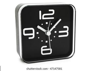 modern black clock against white