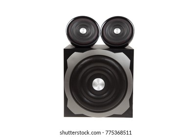 Modern black computer speakers with subwoofer isolated on white. Compact Speaker System