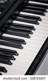 Modern Black Digital piano. Close up view
