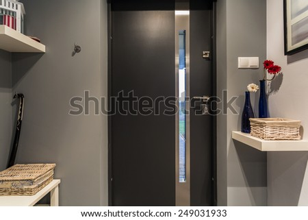 Modern Black Front Door New Luxury Stock Photo Edit Now 249031933