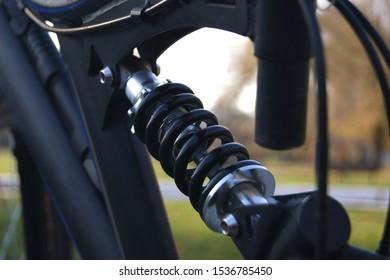Modern Black Full Suspension Mountain Bike