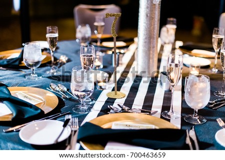 Modern Black Gold Wedding Table Setting Stock Photo Edit Now