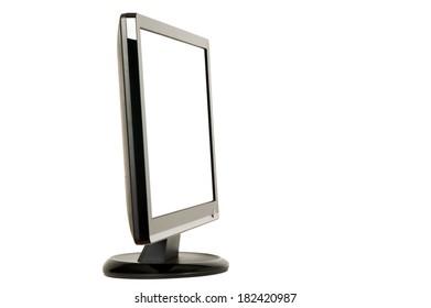 Modern black LCD monitor on white background