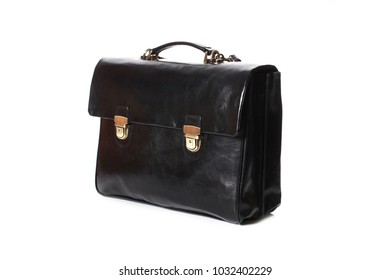 modern black leather men casual or business briefcase isolated