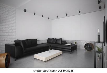 Modern black leather sofa in luxury interior - 3 d render