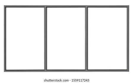 Modern black metal window isolated on white background, empty glass interior office frame for architectural element design