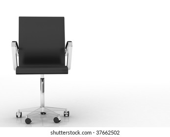 modern black office chair - isolated on white - left side of view