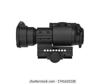modern black optical scope for weapon isolated on white. sight scope isolated on white background
