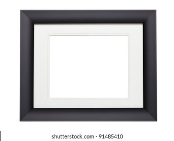 Modern black photo frame with clipping path. Add your own photo