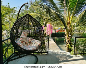 Modern black rattan lounger hanging egg chair with pillow in the garden.