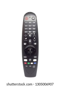 modern black remote controller tv on isolated white background