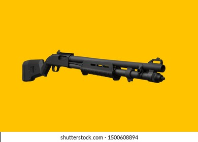 Modern black shotgun on a yellow background. Weapons for the police, army, special units. Weapons for sports and self-defense.