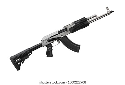 Modern black silver automatic rifle isolated on white background