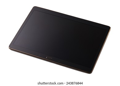 Modern black tablet pc isolated on white.