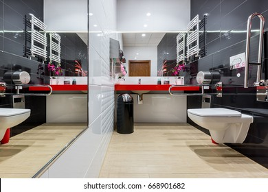 Modern black and white bathroom adapted for disabled