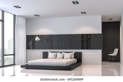 Modern black and white bedroom interior minimal style 3d rendering image.There are white floor.Furnished with black wood furniture .There are large windows look out to see the city view