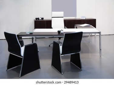 Modern black white office interior