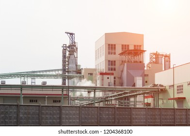 Modern bleached pulp sulphate processing plant, outdoor, cellulose