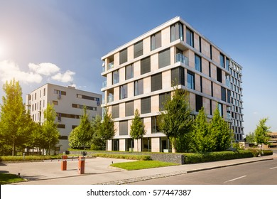 Modern block of flats with blue sky, a place to live in the city