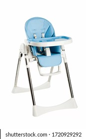 modern blue baby chair for feeding isolated on white background