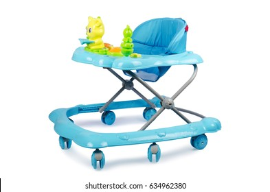 Modern blue baby walker with toys isolated on white