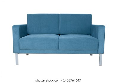 Modern blue fabric sofa isolated on white background. Front view