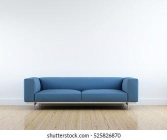 Modern blue fabric sofa in white room interior parquet wood floor.
