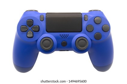 Modern blue gamepad with wireless analog buttons (joystick) on a white background. Top view / clipping path