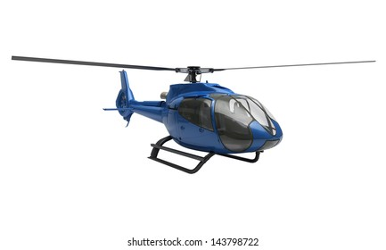 Modern blue helicopter on a white background