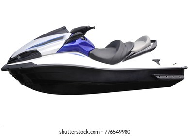 Modern blue jet-ski isolated on white background.