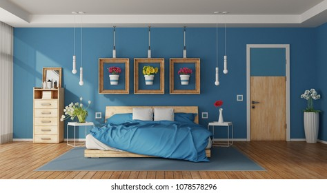 Modern blue master bedroom with double bed,drawers and colorful flowers - 3d rendering