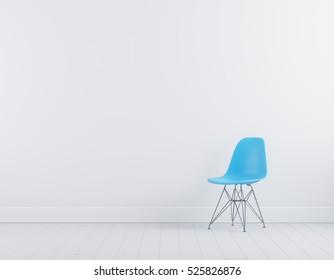 Modern blue plastic chair in white room interior parquet wood floor.