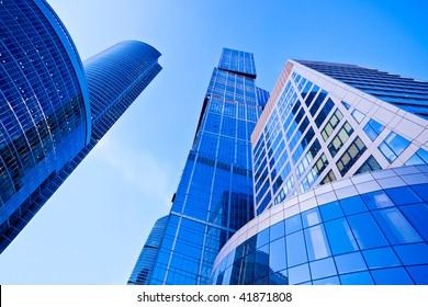Modern blue skyscrapers towers